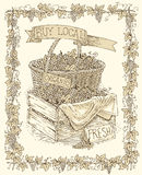 Gravure du panier en osier avec du raisin mûr photos stock