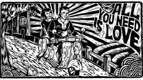 Gravure du scooter de tour de couples illustration de vecteur
