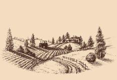 Gravure à l'eau forte de paysage de ferme Photo libre de droits