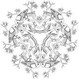 Gravure noire et blanche d'illustration de vecteur de mandala d'oiseaux de bouvreuil illustration de vecteur