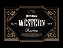 Gravure occidentale de frontière de vintage de cadre d'antiquité de label tirée par la main illustration libre de droits