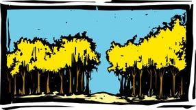 Gravure sur bois Autumn Trees Image libre de droits
