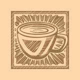 Gravure sur bois de café Photo stock