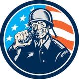 Gravure sur bois en American Grenade Circle de soldat de la deuxième guerre mondiale Photographie stock libre de droits