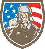 Gravure sur bois en American Grenade Crest de soldat de la deuxième guerre mondiale Images libres de droits