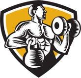 Gravure sur bois en crête de Lifting Kettlebell Dumbbell d'athlète Images libres de droits