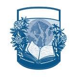 Gravure sur bois en livre d'île d'orques de rhododendron Image libre de droits