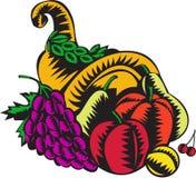 Gravure sur bois en récolte de fruit de corne d'abondance Image libre de droits