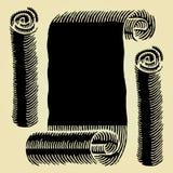 Gravure sur bois noire de papier de défilement Photographie stock libre de droits