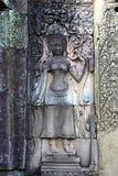 Gravure sur un temple d'Angkor images libres de droits