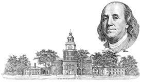 Gravure van Benjamin Franklin en Onafhankelijkheidszaal Stock Foto's