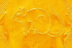 Gravure van de gouden waarde, Dierenriemsymbool van Thaise traditioneel, Royalty-vrije Stock Foto