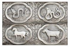 Gravure van de zilveren waarde, Dierenriemsymbool Royalty-vrije Stock Afbeeldingen