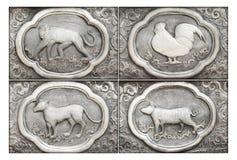 Gravure van de zilveren waarde, Dierenriemsymbool Stock Afbeelding