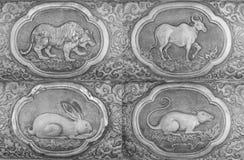 Gravure van de zilveren waarde, Dierenriemsymbool van Thaise traditioneel Stock Fotografie