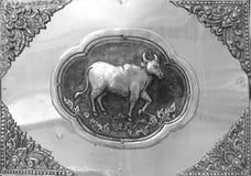 Gravure van de zilveren waarde, Dierenriemsymbool van Thaise traditioneel Stock Foto