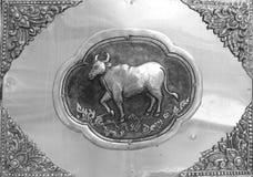 Gravure van de zilveren waarde, Dierenriemsymbool van Thaise traditioneel Royalty-vrije Stock Afbeeldingen