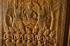 Gravure van een god Angkor Wat, Siem oogst, Kambodja Grootste godsdienstig monument in wereld 162 6 hectaren stock foto's