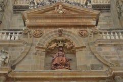 Gravure van Maagdelijke Mary On The Main Facade van de Kathedraal in Astorga Architectuur, Geschiedenis, Camino DE Santiago, Reis royalty-vrije stock afbeeldingen