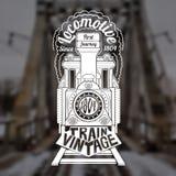 Gravuregezicht van oude locomotief of trein met tekst Royalty-vrije Stock Afbeelding