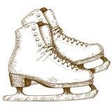 Gravureillustratie van ijs het schaatsen schoenen en bladen Royalty-vrije Stock Fotografie