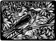 Gravureillustratie van vogel en blad stock illustratie
