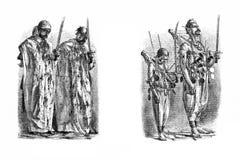 Gravures, illustraties van mensen van verschillende nationaliteiten Royalty-vrije Stock Foto