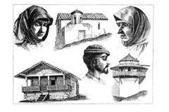Gravures, illustraties van mensen van verschillende nationaliteiten Stock Foto