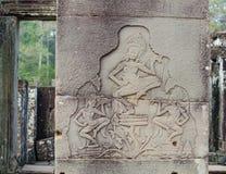 gravures op de muren van de tempels van Indochina royalty-vrije stock foto's