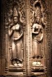 Gravures op de muur, Angkor Wat, Kambodja Royalty-vrije Stock Foto's