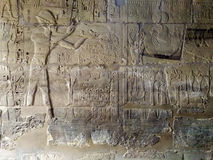 Gravures sur le mur du temple antique de l'Egypte Photos libres de droits