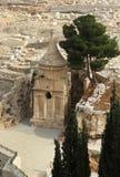 Gravvalv av Absalom (Absaloms pelare) i Kidron Valley, Jerusalem, Royaltyfri Fotografi