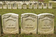 Gravvalv av okänd det soldat-, för nationalpark Andersonville eller för läger Sumter, inbördeskrigfängelset och kyrkogården Arkivbilder