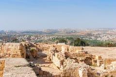 Gravvalv av profeten Samuel, nära Jerusalem i den Judea öknen, arkivfoton