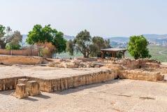 Gravvalv av profeten Samuel, nära Jerusalem i den Judea öknen, royaltyfria bilder