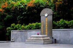 Gravvalv av Singapore den kinesiska krighjälten Lim Bo Seng i den MacRitchie behållaren Fotografering för Bildbyråer