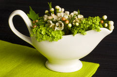 Gravy boat flower decorated Stock Photography