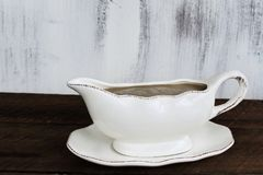 Gravy Boat on Rustic Table Stock Photos