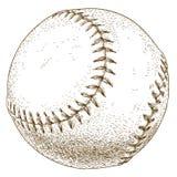 Gravyrillustration av baseballbollen Arkivfoto