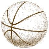 Gravyrillustration av basketbollen Arkivbilder