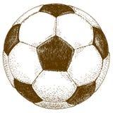 Gravyrillustration av fotbollbollen Fotografering för Bildbyråer