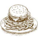 Gravyrillustration av hamburgaren Arkivbilder