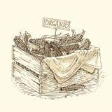 Grawerować Drewnianego pudełko z Dojrzałą kukurudzą Fotografia Royalty Free