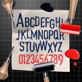 Grawerować listy i liczby royalty ilustracja