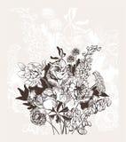 Grawerujący abstrakcjonistycznego kwiatu wektoru karty bakground elegancki ślub świętuje rocznik peoni royalty ilustracja