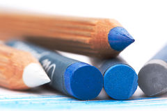 Gray abd blue oil pastels Royalty Free Stock Images