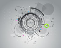 Gray abstract background. Concentric circle design with gray abstract shapes and curves Stock Photography