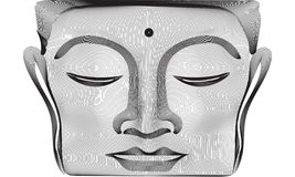 Gray abstract 3d lines Buddha face statue. Vector illustration. White background royalty free illustration