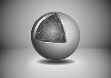 Gray Abstract 3D sfär också vektor för coreldrawillustration Arkivfoto
