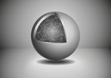 Gray Abstract 3D sphere. Vector illustration. Can be used as postcards Stock Photo